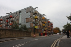 A newer building on Queensbridge Road, apparently a mix of private and socially-rented housing, as well as workspaces.